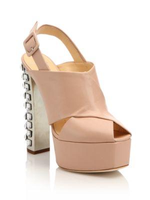 Crystal-Trimmed Leather Platform Slingback Sandals