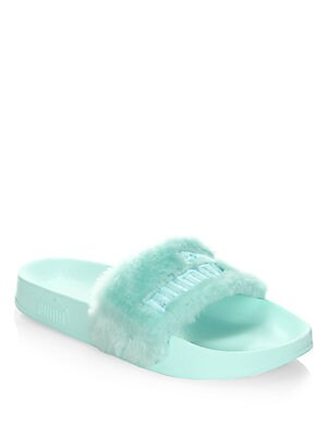FENTY by Rihanna Faux Fur Logo Slides