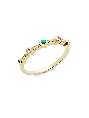 14K Yellow Gold & Stone Simple Band Ring