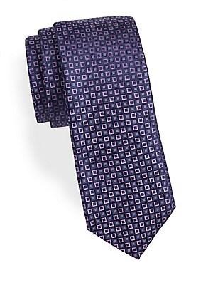 Geometric-Print Silk Tie