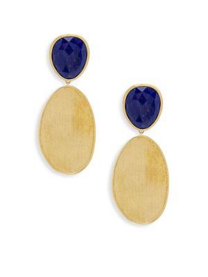 Lunaria Gemstone & Yellow Gold Oval Drop Earrings