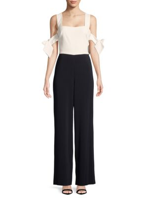 WOMAN COLD-SHOULDER TWO-TONE CADY JUMPSUIT WHITE