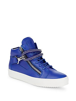 Stud Hook & Eye Leather Sneakers