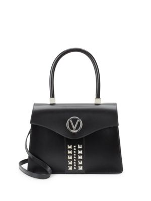 Melanie Studded Leather Top Handle Bag