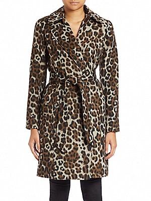 Leopard-Print Wrap Coat