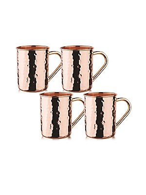 Hammered Solid Copper Moscow Mule Mug/ Set Of 4