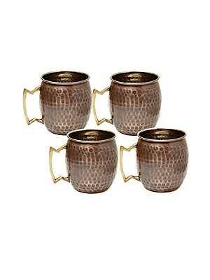 Antique Hammered Copper Moscow Mule Mugs/Set Of 4