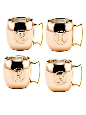 16 Oz. Solid Copper Moscow Mule Mugs, Monogram R, Set of 4