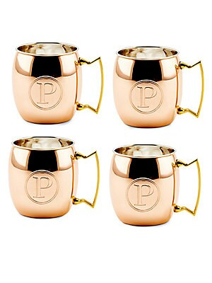 16 Oz. Solid Copper Moscow Mule Mugs, Monogram P, Set of 4