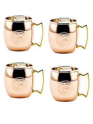 16 Oz. Solid Copper Moscow Mule Mugs, Monogram F, Set of 4
