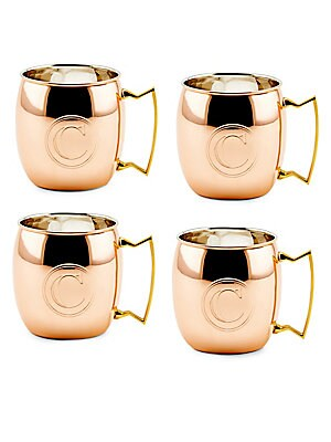 16 Oz. Solid Copper Moscow Mule Mugs, Monogram C, Set of 4