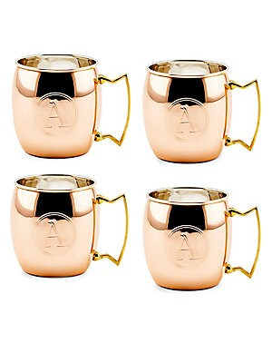 16 Oz. Solid Copper Moscow Mule Mugs, Monogram A, Set of 4