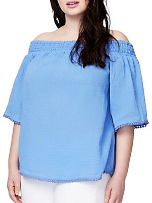 Plus Smock Bell Off-the-Shoulder Top