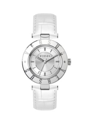 STAINLESS STEEL AND LEATHER STRAP WATCH