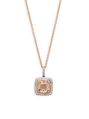 Rose & White Gold Gemstone & Diamond Square Necklace