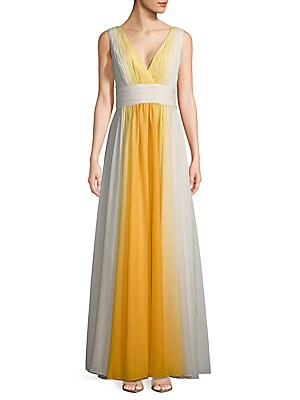 Shirred Ombre Floor-Length Gown