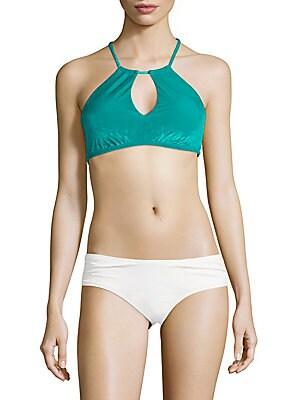 Velveteen High-Neck Bikini Top