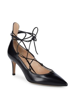 LEATHER ANKLE STRAP PUMPS