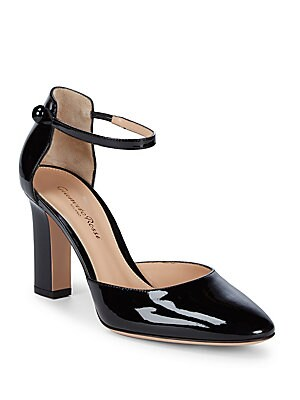 Ankle-Strap Leather Pumps