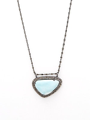 Larimar & Champagne Diamond Pendant Kaia Necklace