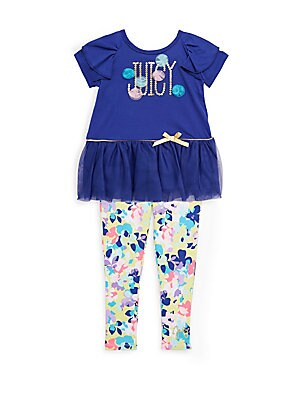 Little Girl's Two-Piece Floral Top and Leggings Set