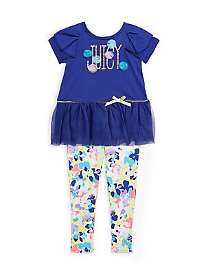 Little Girl's Ruffle Ribbon Top & Floral Leggings Set