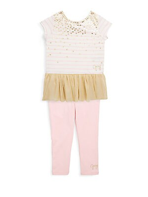 Baby's Ruffle Tulle Stripe Top & Leggings Set