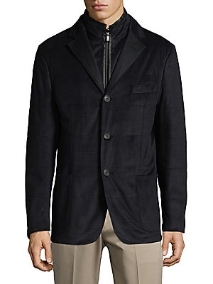 2-in-1 Micro Check Jacket and Full Zip Vest