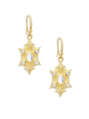 SUENO DIAMOND, SAPPHIRE, RAINBOW MOONSTONE AND 18K YELLOW GOLD EARRINGS, 0.06 TCW