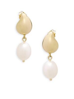 14K Yellow Gold & Pearl Domed Teardrop Drop Earrings