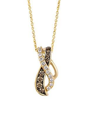 14K Honey Gold Vanilla Diamonds & Chocolatier® Chocolate Diamonds Gladiator Weave™ Pendant Necklace