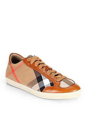 HARTFIELD CHECK CANVAS & LEATHER SNEAKERS