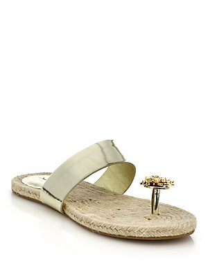 Angelica Metallic Leather & Jeweled Toe Sandals