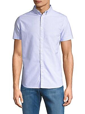 Pinstripe Cotton Button-Down Shirt