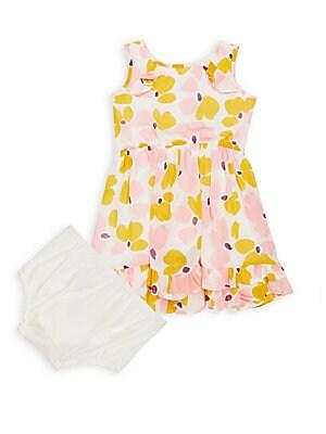 Baby's Two-Piece Paint Daub Ruffle Dress & Briefs Set