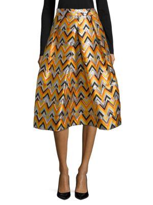 Geometric Pleated Midi Skirt