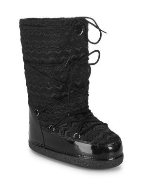 Textured Logo Mid-Calf Boots