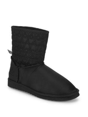 Faux Fur-Lined Embroidered Booties