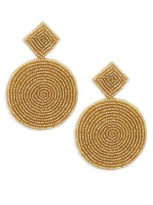 GOLDTONE BEAD LARGE CIRCLE EARRINGS