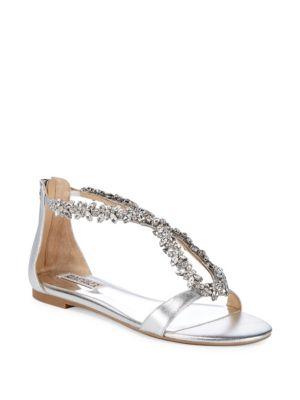 Haynes Embellished Metallic Leather Flat Sandals