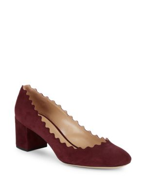 LAUREN SCALLOPED SUEDE BLOCK HEEL PUMPS