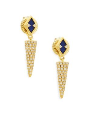 INDIGO ARMOUR CRYSTAL, LAPIS AND STERLING SILVER DROP EARRINGS
