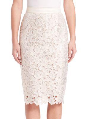 Floral-Lace Pencil Skirt
