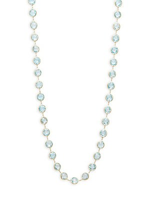 18K Yellow Gold Linked Blue Topaz Necklace