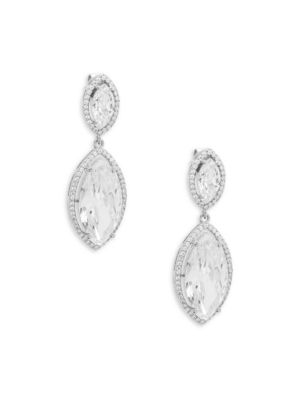 CRYSTAL AND STERLING SILVER DOUBLE DROP EARRINGS
