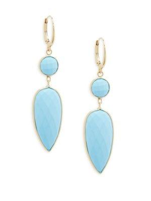 14K GOLD BLUE CHALCEDONY DOUBLE-DROP EARRINGS
