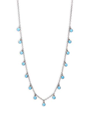 CRYSTAL AND STERLING SILVER SINGLE STRAND NECKLACE