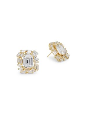 CRYSTAL AND STERLING SILVER SQUARE STUD EARRINGS
