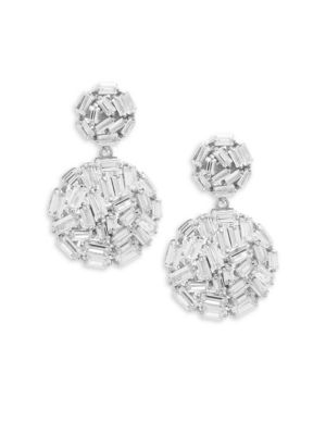 CRYSTAL AND STERLING SILVER BALL DROP EARRINGS