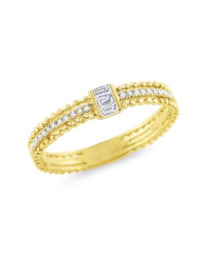 BAGUETTE DIAMOND STACK YELLOW GOLD RING